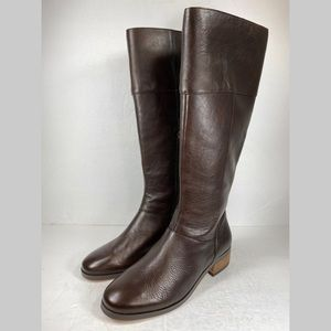 Sole Society Carlie Brown Leather Boot Calf Zip Up